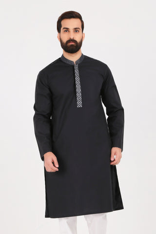 Jet Black Poplin Kurta - SLIM FIT