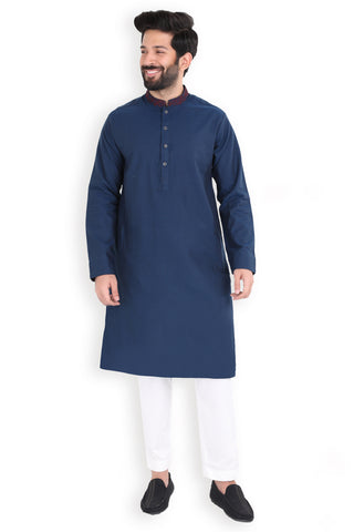 Embroidered Navy Dobby Kurta