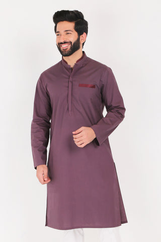 Burgundy Kurta - Regular Fit