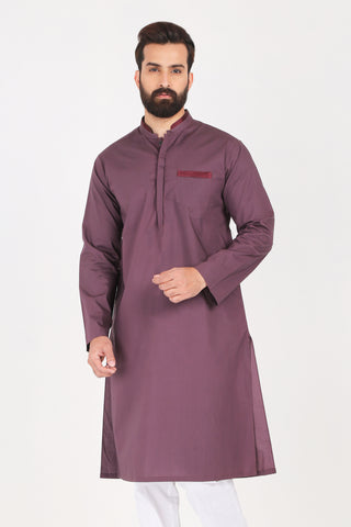 Burgundy Kurta - Slim Fit