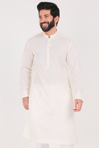 Off White Karandi Kurta - Regular Fit