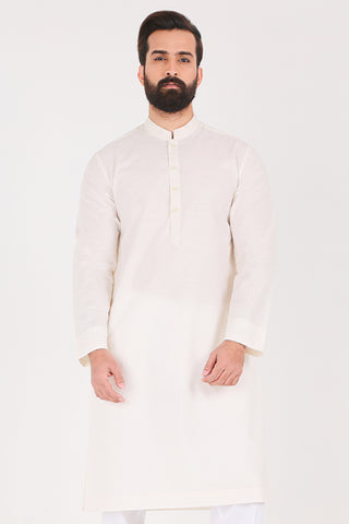 Off White Karandi Kurta - Slim Fit