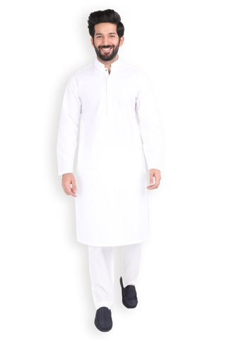 Embroidered White Poplin Kurta