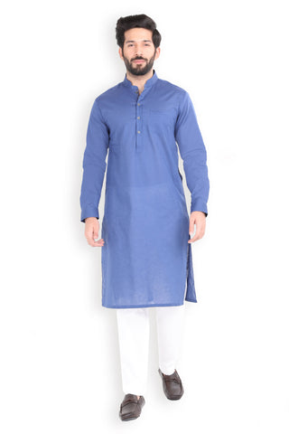 Navy Cotton Linen Kurta