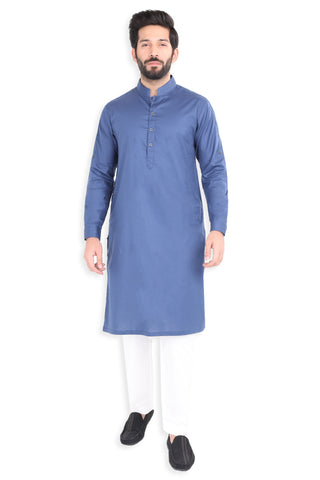Denim Blue Herring Bone Kurta