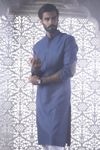 Blue Elbow Patch Kurta