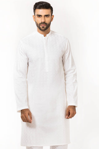 Embroidered White Kurta