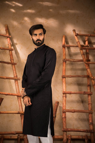 Textured Embroidered Black Kurta