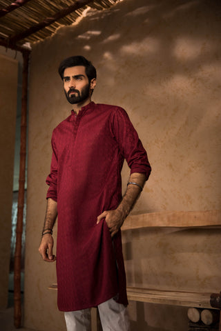 Embroidered Maroon Kurta