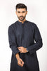 Embroidered Navy Blue Kurta