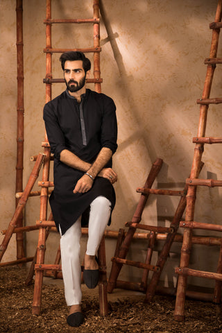 Black Ready To Wear Kurta