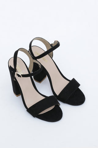 Black Strap Block Heel