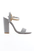 Grey Strap Block Heel