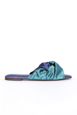 Blue Satin Slides