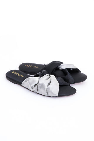Black Satin Slides