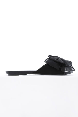 Black Bow Slide Sandals