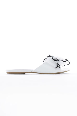 White Bow Slide Sandals