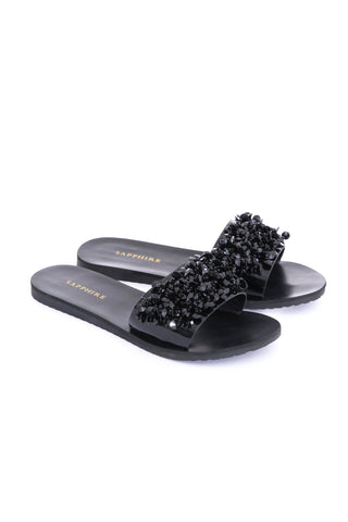 Black Beaded Slides