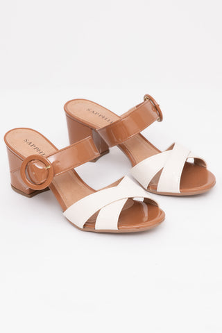Brown & White Block Heel