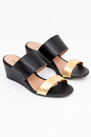 Preto Gold Wedge Heels