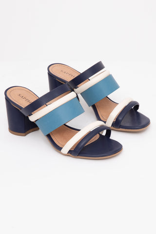 Navy Blue Block Heel