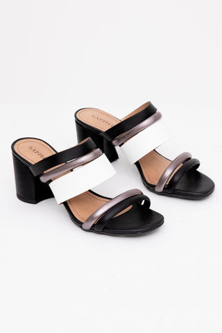 Black & Grey Block Heel