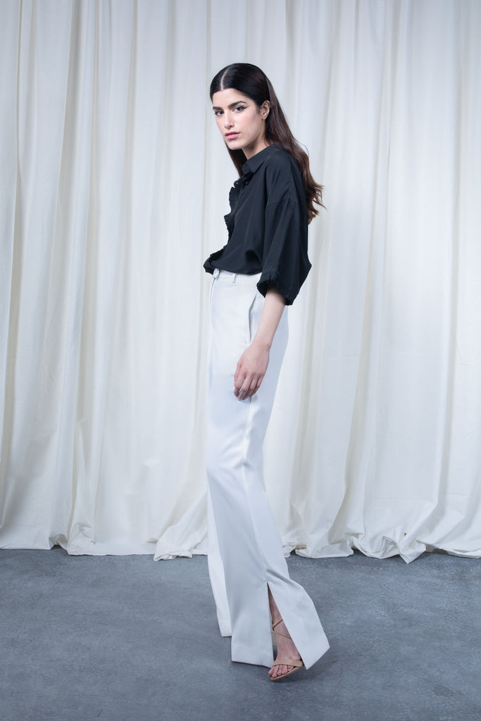 White Belted Pants