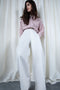 White Belted Flowy Pants