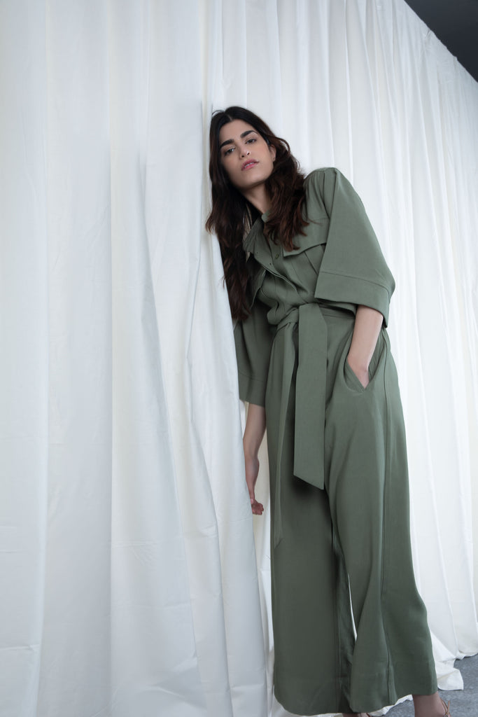Green Pocketed Jumpsuit