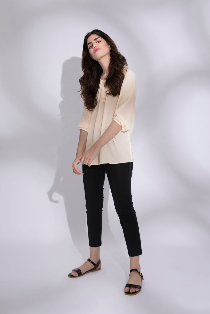 Drawcord Neck Top