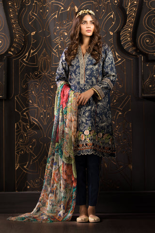 Midnight Blues Dupatta
