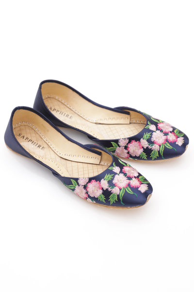 Navy Floral Khussa