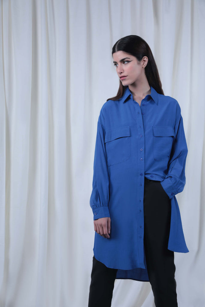 Blue Long Buttoned Shirt