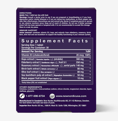 back picture of active immune Vitamin & Supplement to Boost Immune System