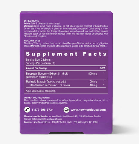 back picture of blue berry strong Vitamins & Supplements for Eyes 120CT