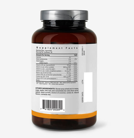 picture of supplement facts of Naturally Derived Vegan Multivitamin Gummies