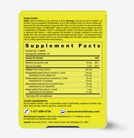 picture of supplement facts of Skin Care Collagen Filler ™ & Supplement