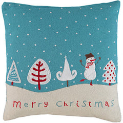 Blue Festive Snowman Cushion