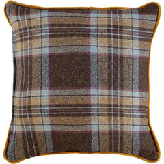 Purple & Yellow Tartain Cushion •