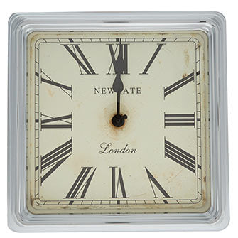 White & Crome Square Wall Clock