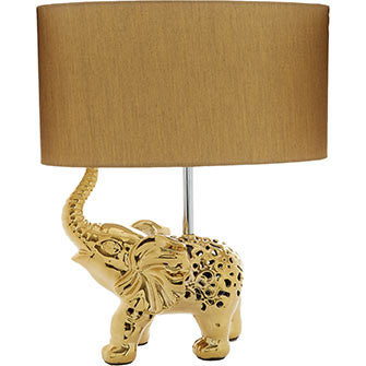 Gold-Tone Elephant Table Lamp