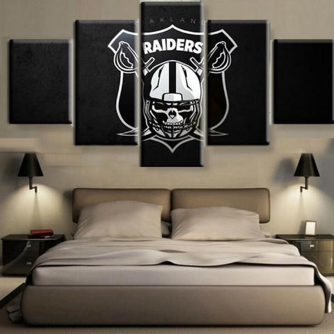 (50% OFF) OAKLAND RAIDERS (A) - 5 Panel HD Wall Art Canvas Home Decor Display - ***FREE SHIPPING***