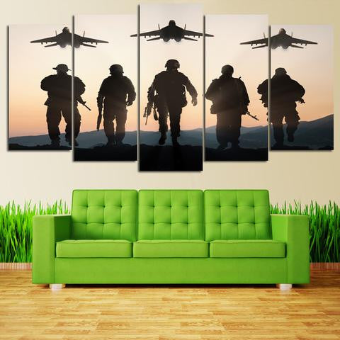 50% OFF - **Brotherhood Military Soliers Silhouettes -5 PANEL CANVAS WALL ART** Plus Free shipping