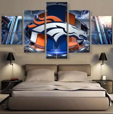 (50% OFF) DENVER BRONCOS (C) - 5 Panel HD Wall Art Canvas Home Decor Display - ***FREE SHIPPING***