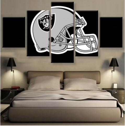 (50% OFF) OAKLAND RAIDERS (B) - 5 Panel HD Wall Art Canvas Home Decor Display - ***FREE SHIPPING***