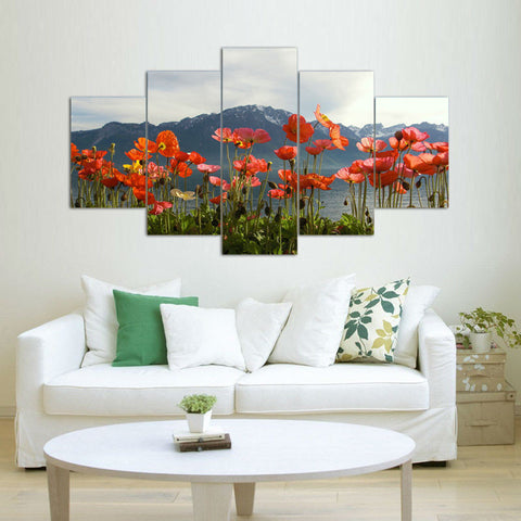 50% OFF -  Beautiful Red Poppies HD Wall Art Canvas