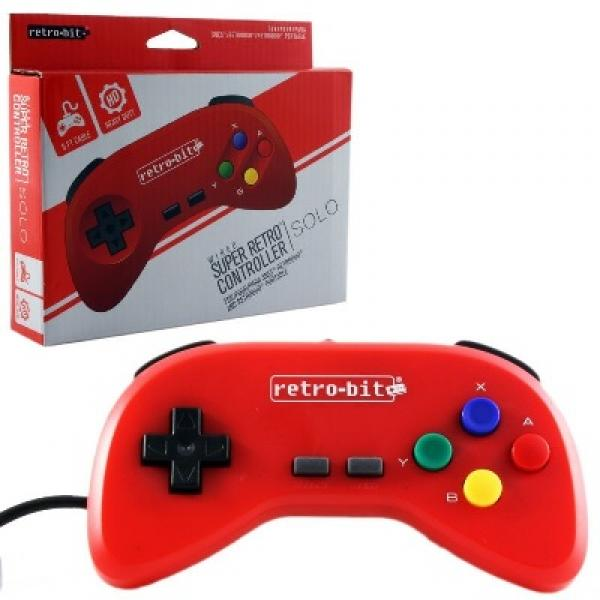 SNES Controller (3rd) NEW - Wired Retro Super Nintendo Controller - SOLO - Retrobit - ONE - red