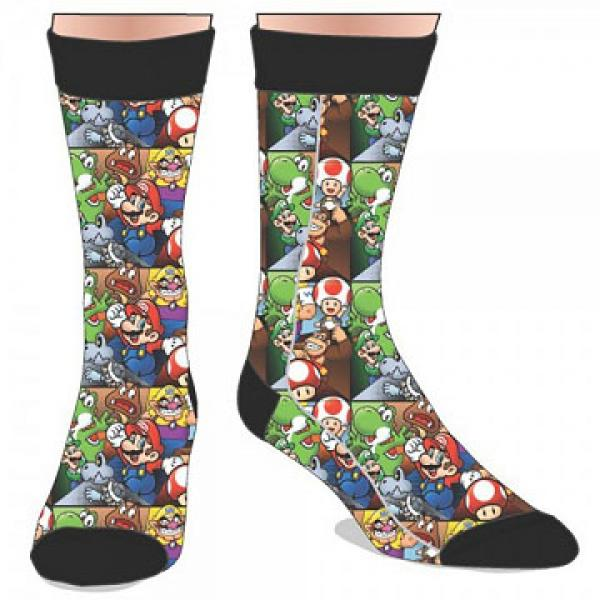 Gamer Gear - Nintendo - Super Mario - all stars - CREW socks - multicolor