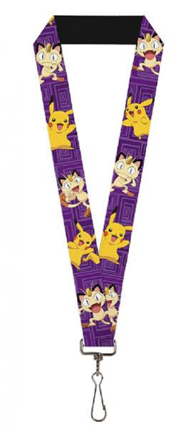 Lanyard - Nintendo - Pokemon - Pikachu and Meowth poses purple squares - NEW