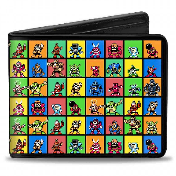 Gamer Wallet - Mega Man - Bifold Wallet - 8bit character multiblocks - NEW